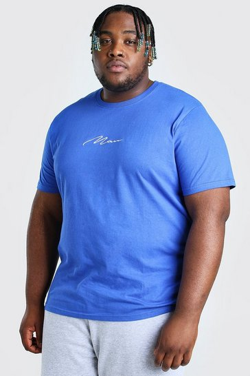 Cobalt blue Big And Tall MAN Script Embroidered T-Shirt