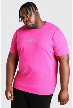 Pink Big And Tall MAN Script Embroidered T-Shirt
