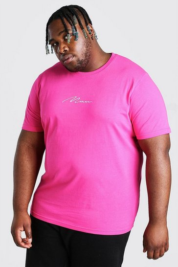 Pink Plus Size MAN Script Embroidered T-Shirt