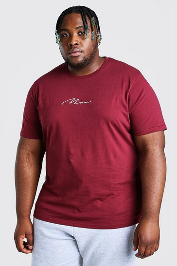Burgundy red Plus Size MAN Script Embroidered T-Shirt