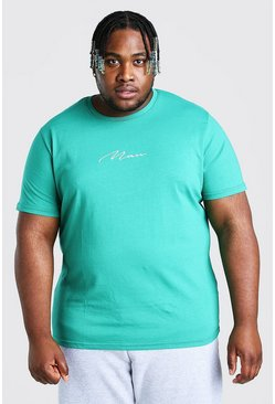 Green grön Plus Size MAN Script Embroidered T-Shirt