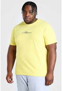 Big And Tall t-shirt con scritta MAN ricamata, Giallo