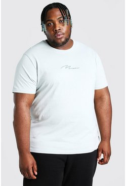 Big And Tall t-shirt con scritta MAN ricamata, Argento silver