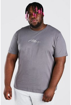Slate grey Plus Size MAN Script Embroidered T-Shirt