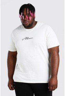 Ecru vit Plus Size MAN Script Embroidered T-Shirt