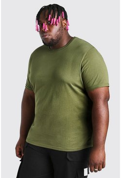 Khaki Big And Tall T-Shirt With Rolled Sleeves