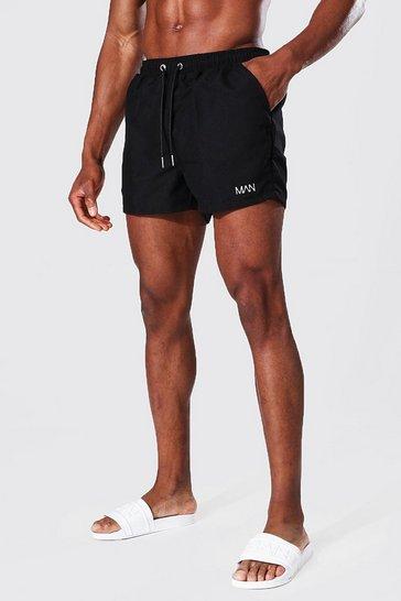 Black Recycled Original Man Short Length Swim Short