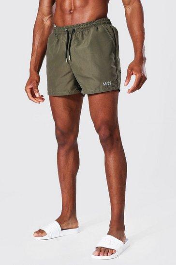 Khaki Recycled Original Man Short Length Swim Short