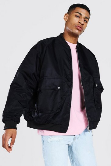 Black Oversized Patch Pocket Man Branded Bomber