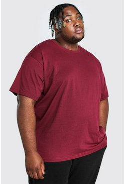 Burgundy red Big And Tall Loose Fit T-Shirt