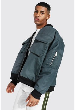 Khaki Oversized Ma1 Bomber With 4 Pockets