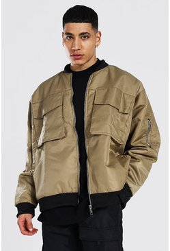 Stone beige Oversized Ma1 Bomber With 4 Pockets