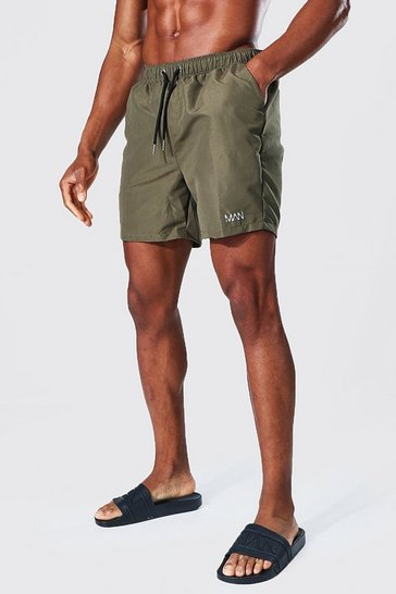 Khaki Recycled Original Man Mid Length Swim Shorts