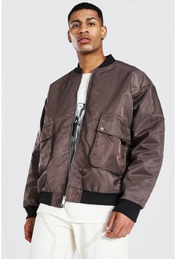 Ecru white Oversized Patch Pocket Man Branded Bomber