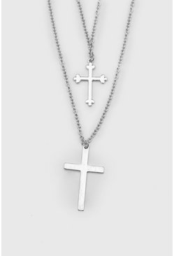 Silver Double Row Cross Necklace