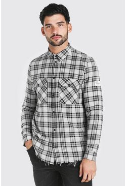Grey Long Sleeve Overdyed Check Shirt