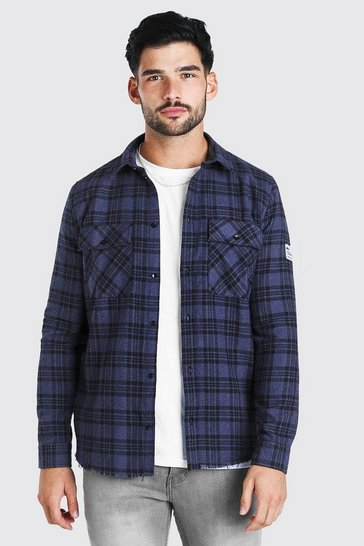 Navy Long Sleeve Overdyed Check Shirt