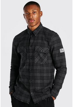Charcoal grey Long Sleeve Overdyed Check Shirt
