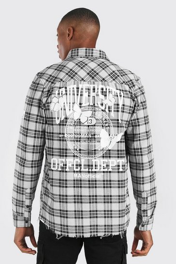 White Long Sleeve Overdyed Check Shirt With Back Print