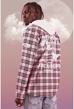 Pink Long Sleeve Overdyed Check Shirt With Back Print
