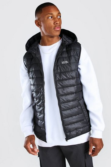 Black Padded Gilet With Hood