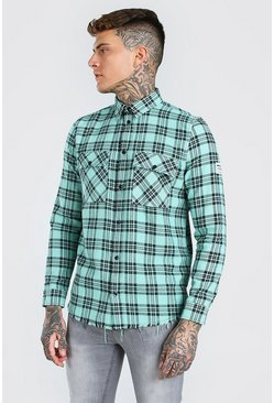 Green MAN Check Shirt With Woven Tab And Raw Hem