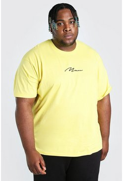 Big And Tall t-shirt taglio rilassato con scritta MAN, Giallo