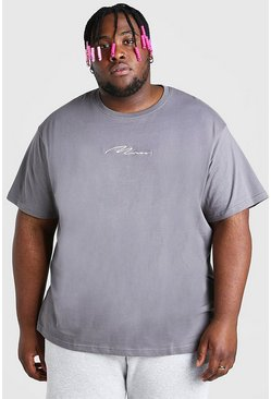 Slate grey Plus Size Loose Fit MAN Script T-Shirt