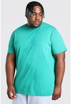 Green Big And Tall Longline Basic T-Shirt