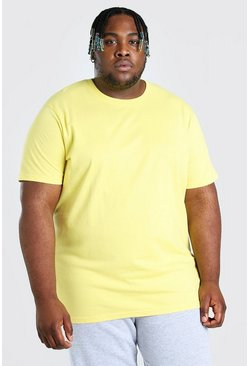 Yellow Big And Tall Longline Basic T-Shirt