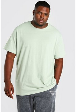Sage green Plus Size Longline Basic T-Shirt