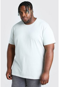 Silver Big And Tall Longline Basic T-Shirt