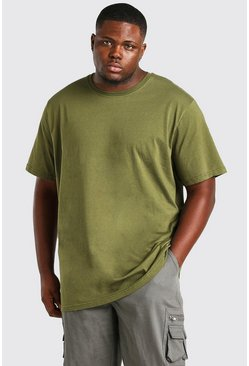 Khaki Big And Tall Longline Basic T-Shirt