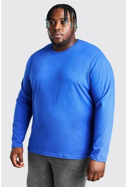 Cobalt blue Plus Size Basic Long Sleeve T-Shirt