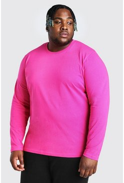 Pink Plus Size Basic Long Sleeve T-Shirt