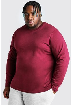 Burgundy red Big And Tall Basic Long Sleeve T-Shirt