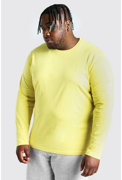 Big And Tall t-shirt basic a maniche lunghe, Giallo