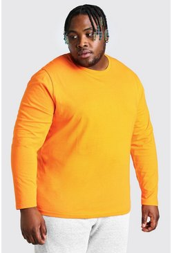 Big And Tall t-shirt basic a maniche lunghe, Arancio