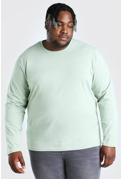 Sage green Big And Tall Basic Long Sleeve T-Shirt