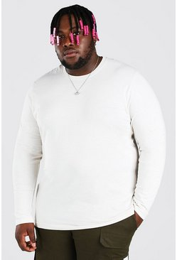 Ecru white Big And Tall Basic Long Sleeve T-Shirt