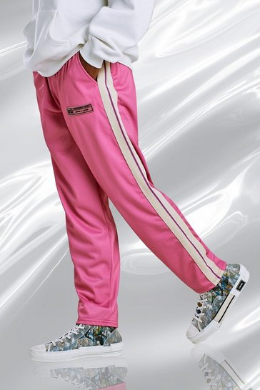 Pink Loose Fit Tricot Joggers With Side Tape