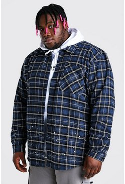 Blue Big And Tall Check Overshirt With Bleaching