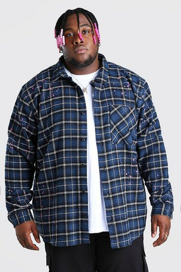 Blue Big And Tall Check Shirt With Paint Splatter