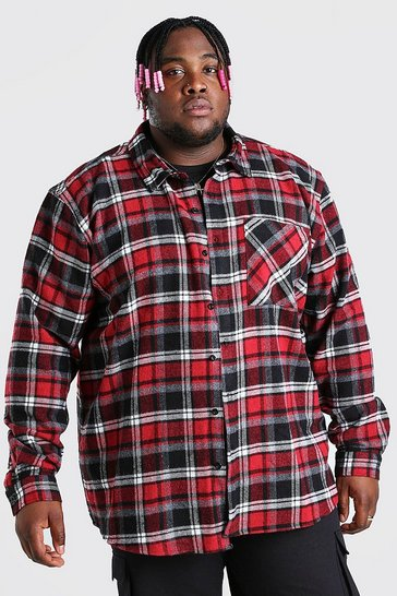 Red Plus Size Long Sleeve Check Overshirt