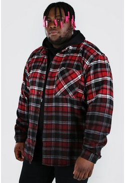 Red Plus Size Check Overshirt With Ombre Hem