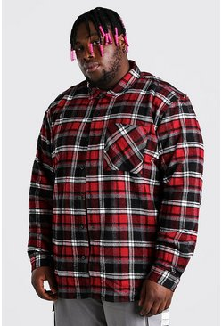 Red Big And Tall Check Overshirt With Back Embroidery