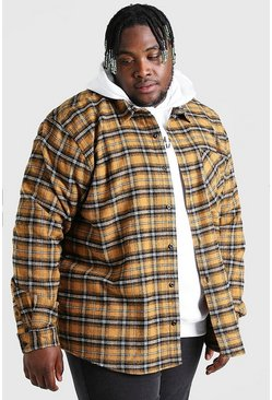 Mustard gul Plus Size Long Sleeve Check Overshirt