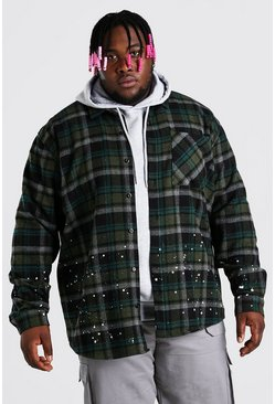 Khaki Big And Tall Check Overshirt With Bleaching