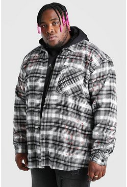 Ecru white Big And Tall Check Overshirt With Paint Splatter