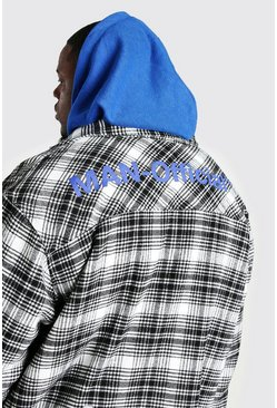 Ecru Big And Tall MAN Official Back Print Overshirt